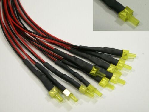S600-5 Stück LED 2mm gelb mit Kabel für 12-19V fertig verkabelt Tower LEDs