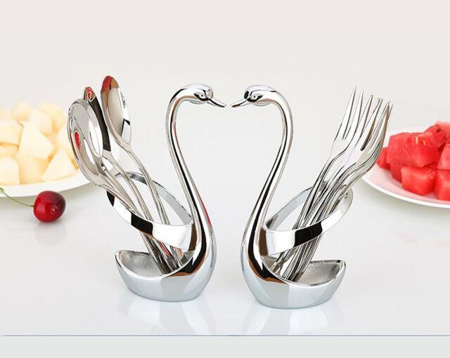 Stainless Steel Fruit Fork/&Spoon Swan Base Coffee teaspoon Cutlery Set Flatware
