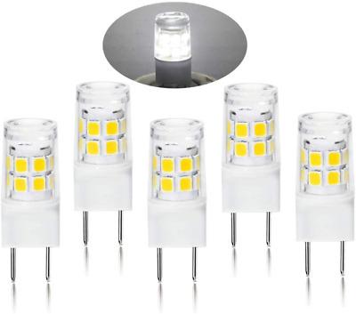 Bqhy G8 Bi-Pin LED Bulb 4 Watt T4 LED G8 40W Equivalent 120V White 6000K Halogen Replacement Light Bulb Pack of 5 Ceramic G8 Bi-pin Base Xenon JCD Type LED G8 for Under Counter Kitchen