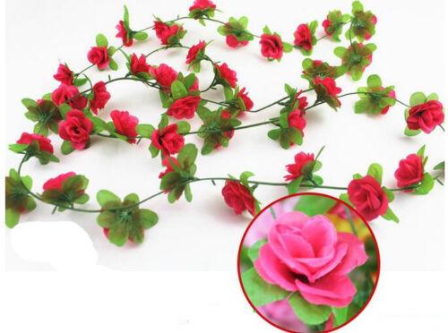 environ 2.30 m Longue Soie Artificielle Rose Fleurs Vigne feuille de lierre guirlande Maison Jardin Décor 7.54 FT