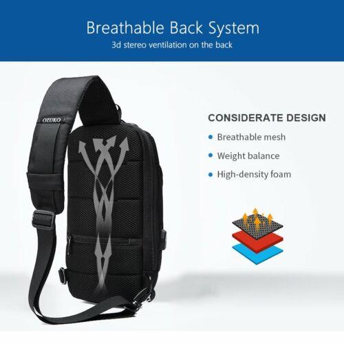 OZUKO Brand Mens Anti-theft Lock USB Port Shoulder Sling Design Chest Bag Pack