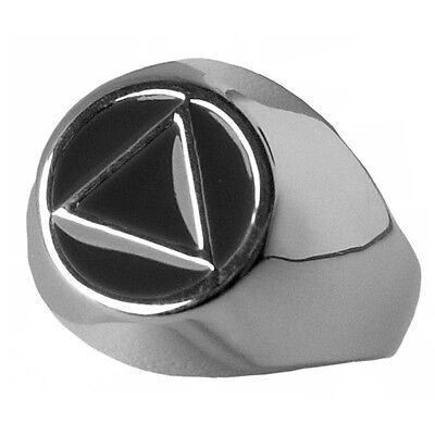 #1027 Sizes 3-10 Ster. AA Alcoholics Anonymous Classic Black Enamel Ring