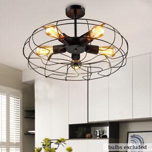 Ceiling-Vintage-Industrial-Light-Pendant-Lamp-Chandelier-Wrought-Iron-Fan-Cage