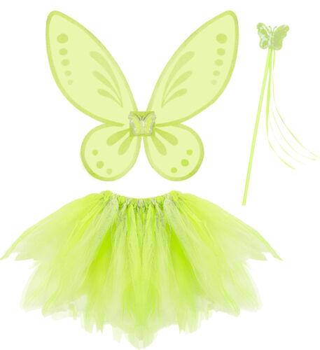magic fairy Fee Elfe grün Tütü Flügel Feenstab Set Kostüm Verkleidung Kinder