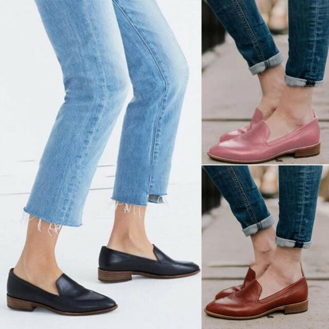 Womens Ladies Fashion Flats Slip On Pumps Oxfords Casual Office OL Comfy Shoes