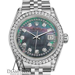 Ladies Rolex Datejust 36mm Nero Stringa Diamond Dial Orologio Linea Jubilee