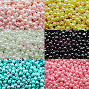 200-x-4mm-Glass-Beads-Pearl-Round-6-colours-hole-Jewellery-Making-Crafts