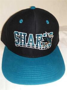 New-San-Jose-Sharks-Mens-Size-OSFA-Snapback-Flatbrim-Vintage-Reebok-Hat