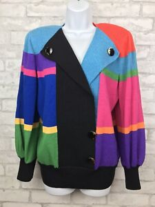 Vintage 80s Antonella Preve Color Block Faux Cardigan Sweater Buttons Size L