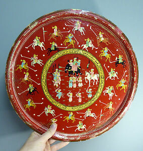 Antique-Indian-Mughal-lacquer-Tray-Polo-Players-amp-Script-Islamic-Arabic-Persian