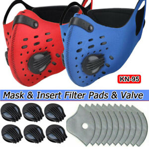 Reusable Sports Diving Fabric Face Cover W/Valve & Replaceable Insert Filter Pad