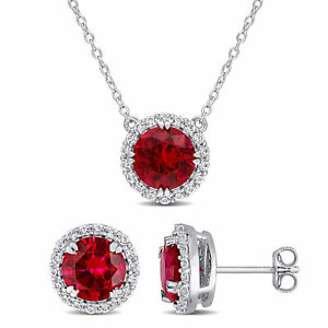 Amour Created Ruby Earring & Pendant with Chain Silver
