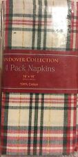 Plaid Holiday Christmas Napkins Set Of 4 Fabric Red Green Ivory Gold NEW