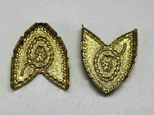 Gold plated Western style brass belt tips lot of 2 E189