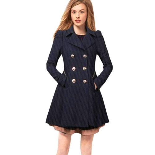 Women Winter Warm Trench Jacket Coats S-XXL Long Parka Coat Lapel Neck Outwear