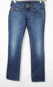 TRUE RELIGION Women Stevie Straight Leg Stretch Jeans Size W26 L32