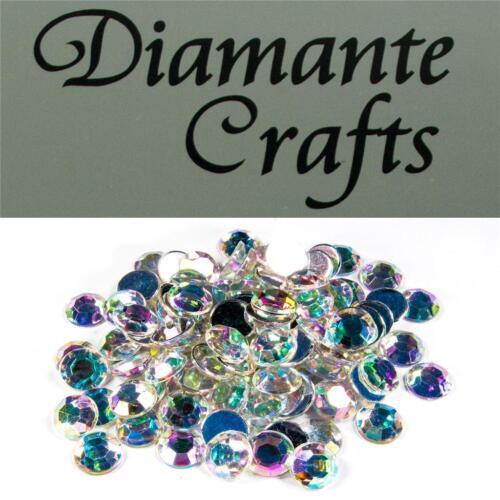 100 X 10 mm Transparente Iridiscente Diamante suelto Rhinestone Vajazzle Gemas de reverso plano