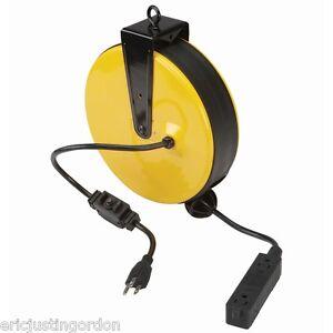 Retractable Power Cord >> 30 Ft Retractable Power Cord Reel Triple Tap Circuit Breaker Free