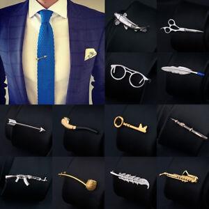Men Unique Bar Metal Tie Clip Clasp Necktie Pin Wedding Silver Clamp Office Acce