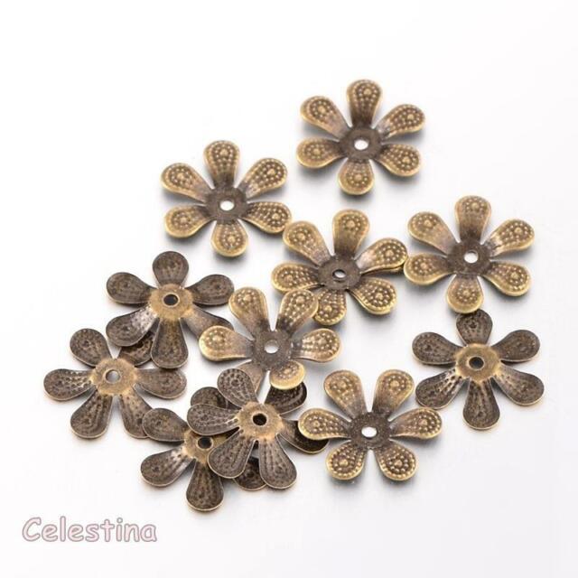 50 x Antique Silver Bead Caps Flower Bead Cone Iron Daisy Cap
