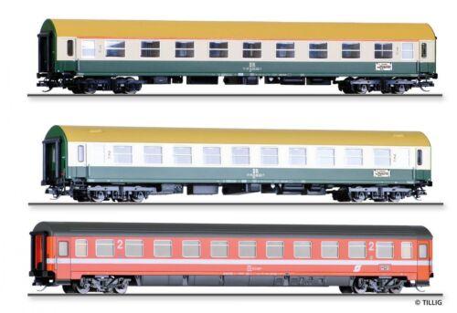 """HS Tillig 01777 Reisezugwagenset """"Vindobona 2""""der DR//ÖBB 3 Reisezugwagen Sp TT"""