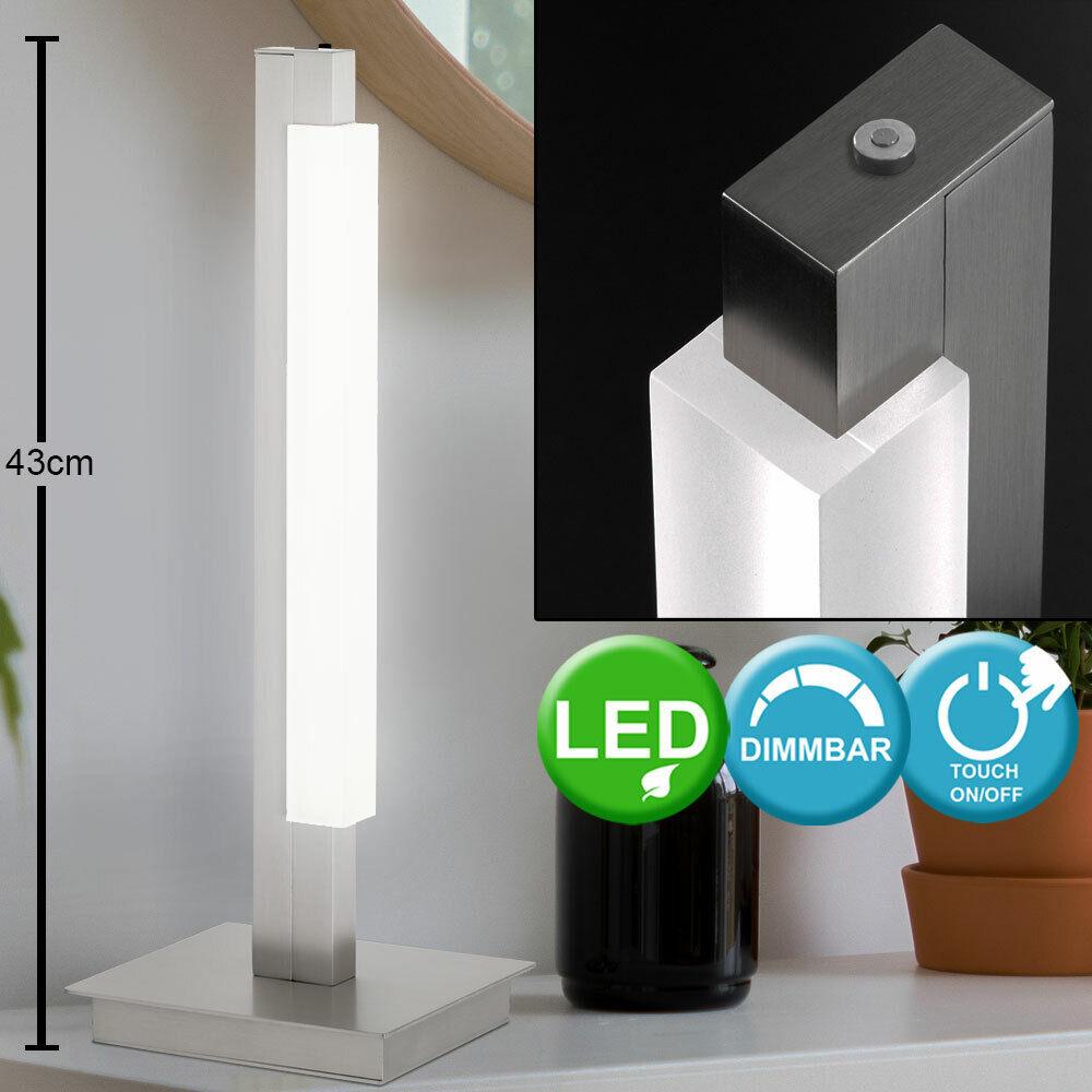 LED Tisch Stand Leuchte Nickel weiß Nacht Strahler Ess Zimmer Beleuchtung Dimmer