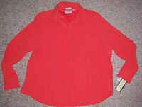 Joanna Plus Dark Coral Orange Long Sleeve Button Snap Top Blouse Size 1x