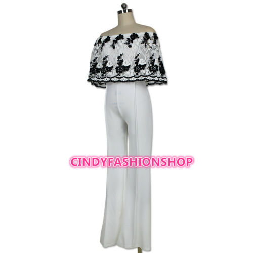 Women Fashion Strapless Floral Loose Jumpsuit Embroidery Flowers Top Long Pant