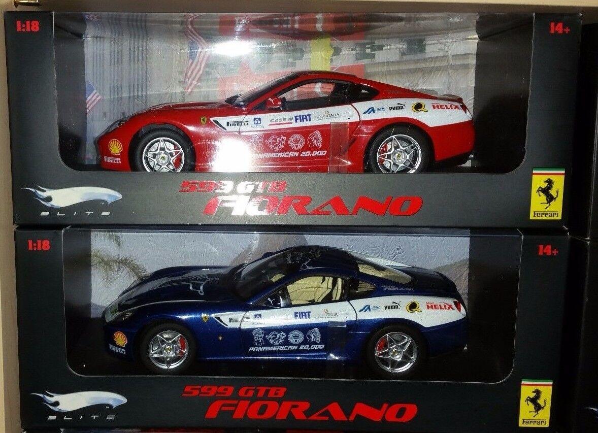 Lot de 2 Ferrari 599 GTB Fiorano PAN AM Hot Wheels Elite 1 18 neuf livraison gratuite