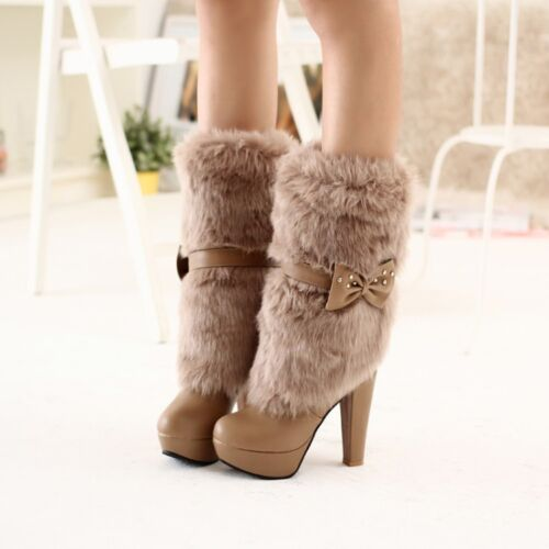 Womens Sweet Bowknot Fur Furry Snow Boots Pumps Heels Mid Calf Boot Plus Size