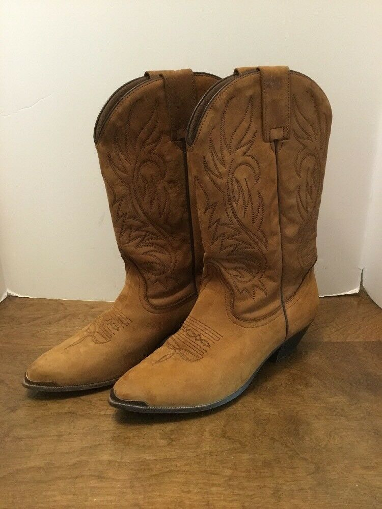 Women's Acme 7.5M CIRCLE A Brown Suede Leather Cowboy Boots Metal Tip