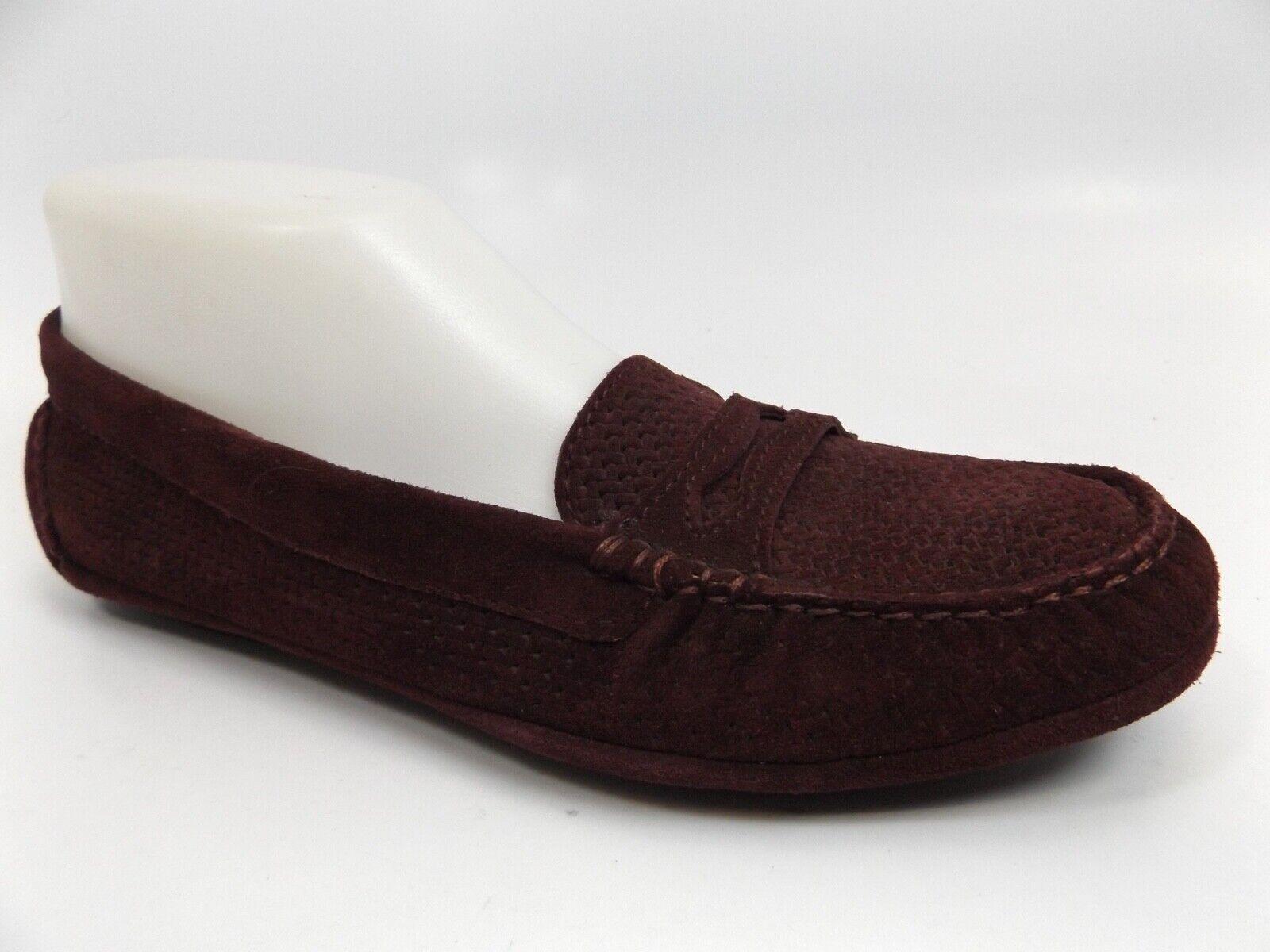 Aquatalia Sawyer Pennyloafer Wildleder Damen Schuhe Sz 7.0 M,Weinrot Neu,D11841