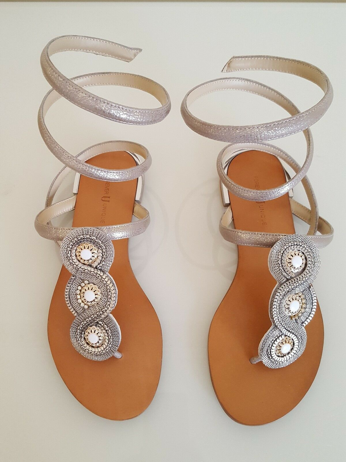 FOREVER UNIQUE  DANA  SILVER   pink gold METALLIC SANDALS