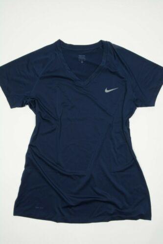NEW Nike Pro Dri-Fit Womens Blue V-Neck Short Sleeve Athletic Training Gym Shirt