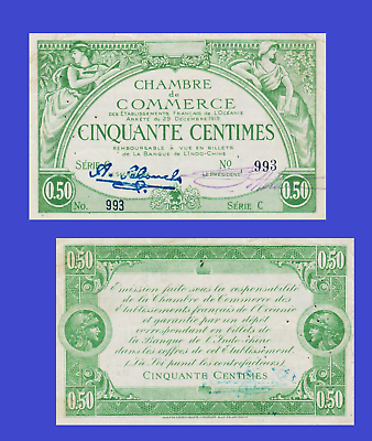 Reproduction FRENCH OCEANIA 2 FRANCS 1919 UNC