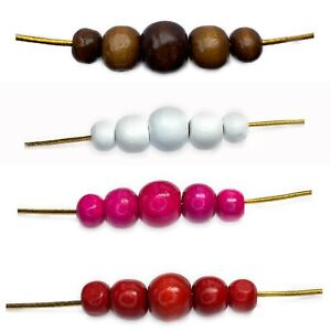 Wooden-Round-Beads-Colour-Choice-8mm-10mm-amp-12mm