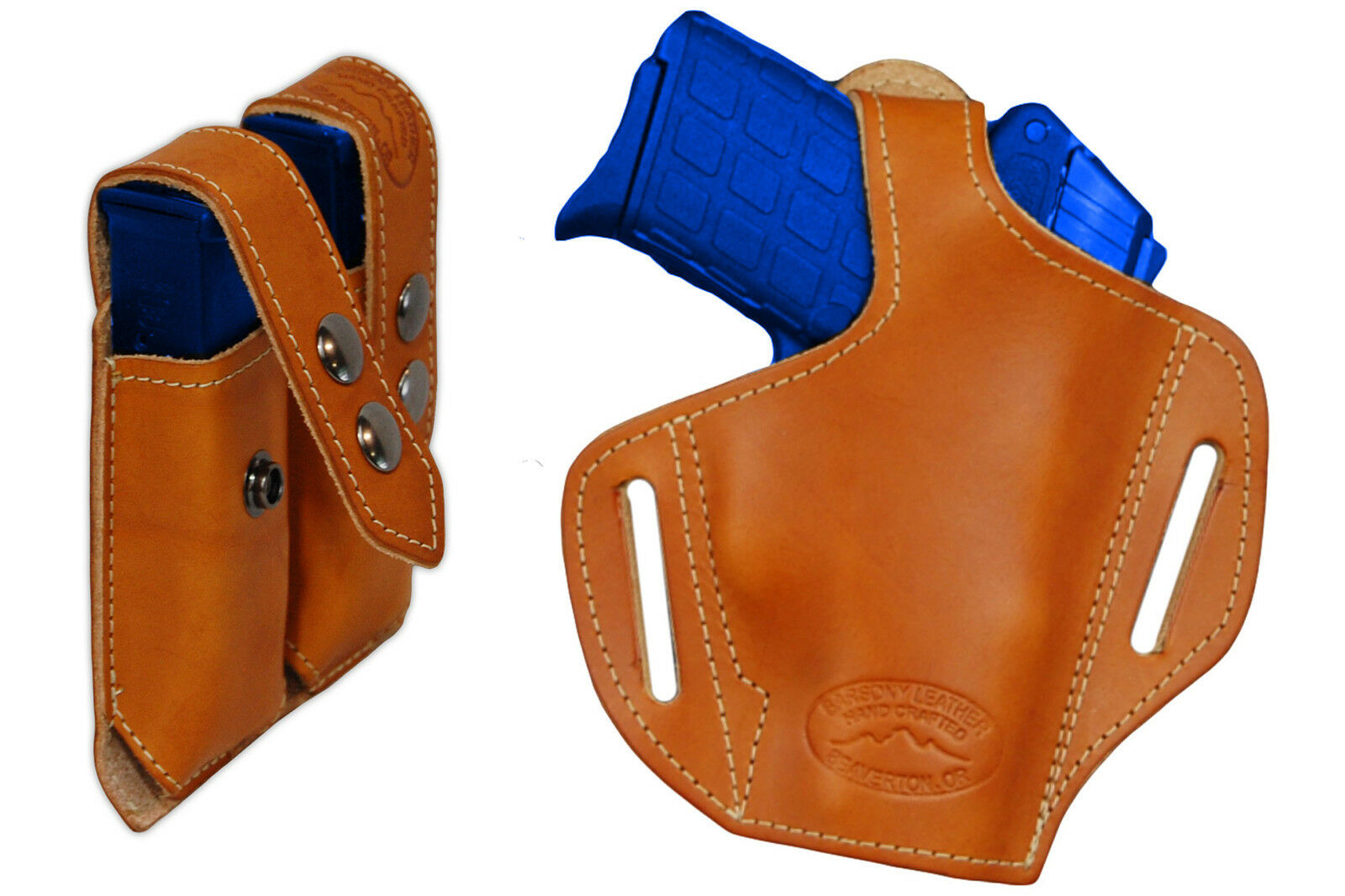 NEW Barsony Tan Leder Pancake Holster+Dbl Mag Pouch Ruger, Kimber Comp 9mm 40