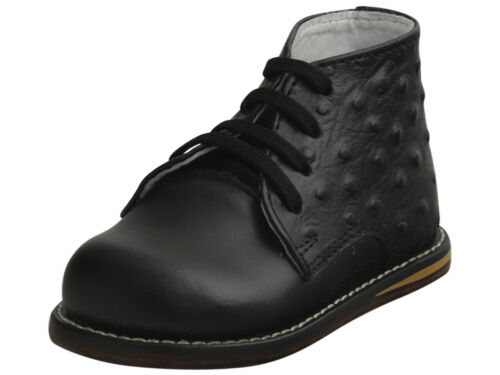 Josmo Infant Boy/'s First Walker Fashion Black Ostrich Lace Up Oxford Shoes