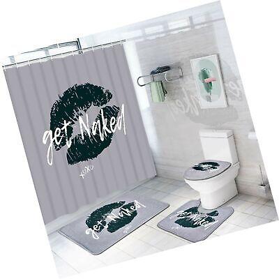 Naked Girl Shower Curtain Bathroom Rug Set Bath Mat Non-Slip Toilet Lid Cover