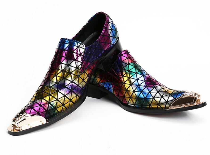 Unique Uomo Pointy Metal Toe Loafers Loafers Loafers Glitter Shiny Multi-Color Dress Scarpe Casual 4b21fd