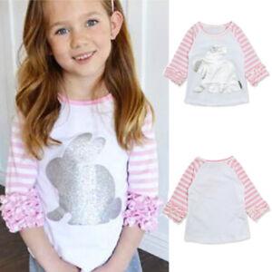 Toddler-Kids-Baby-Girl-Striped-Cartoon-Rabbit-Casual-Princess-T-Shirt-Tops
