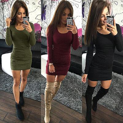 Damen Pullover Partykleid Langarm Cocktailkleid Minikleider Herbst Freizeitkleid