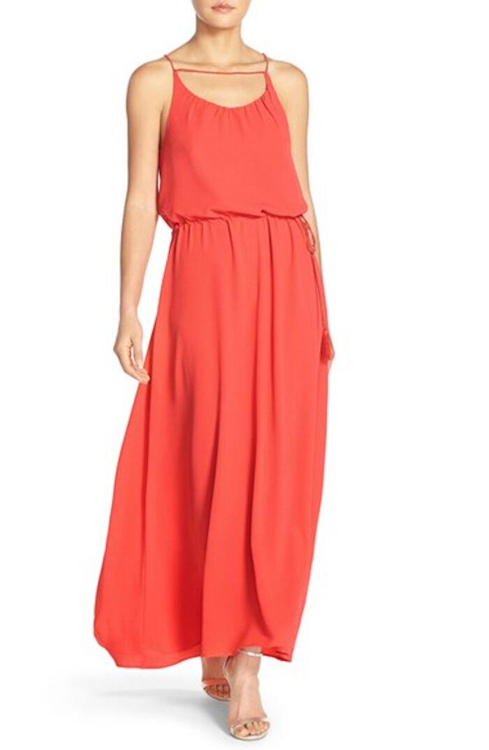 PAPER CROWN by Lauren Conrad 'Carlsbad' Crepe Gown orange Sz XL NEW