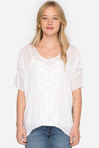 Johnny-Was-White-Demoran-Top-XL-NWT-Floral-Tunic-Bohemian-Embroidery-summer
