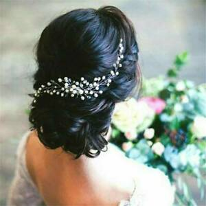 UK Silver Crystal Pearls Flower Wedding Bridal Hairpin Clip Headband Comb