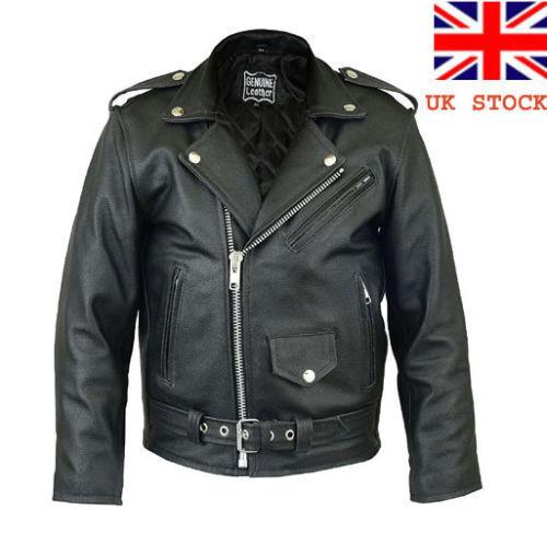 UK Stock Kids Real Leather Motorcycle Genuine Marlon Brando Biker Jacket 24-38