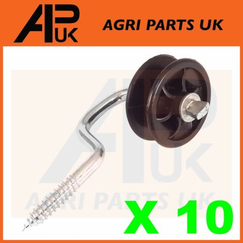10 x  Electric Fence Roller corner Insulators Screw Poly wire Rope Fencing end