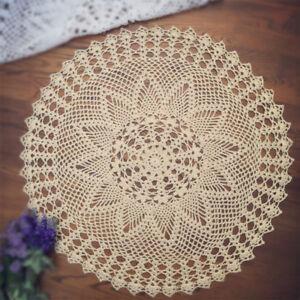 Vintage-Hand-Crochet-Doily-Round-Cotton-Lace-Table-Cloth-Cover-Mats-60cm-Pattern