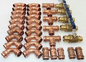 Lot-of-35-1-1-4-034-Propress-Copper-Tees-Elbows-Coupling-Press-Ball-Valves