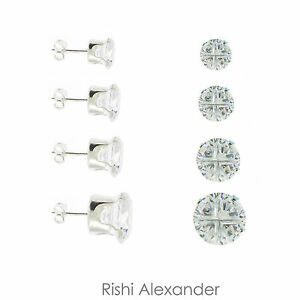 Real-925-Sterling-Silver-4-Cut-Round-Cubic-Zirconia-Clear-CZ-Stud-Earrings